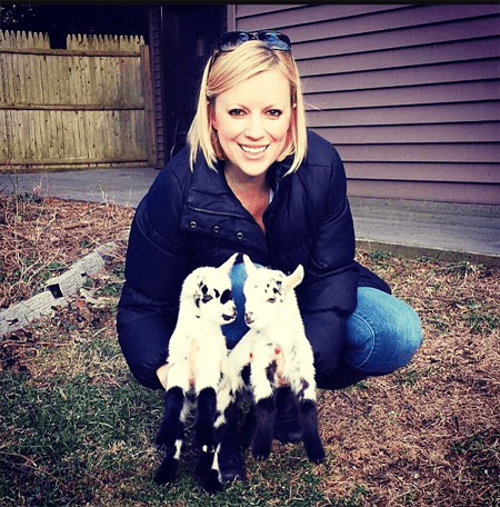 Leanne Lauricella with her goats Jax and Opie.