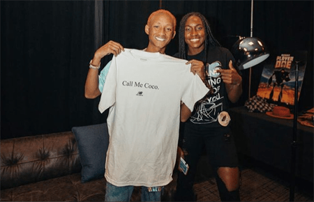 """Jaden Smith holding up the """"Call Me Coco"""" T-Shirt with Coco Gauff"""