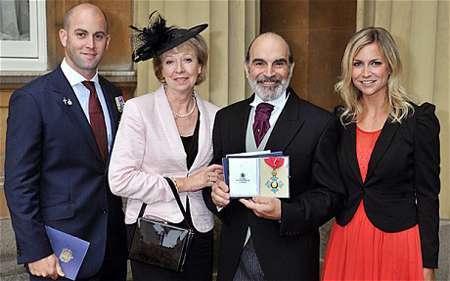 David Suchet with his wife Sheila Ferris, son Robert and daughter Katherine.