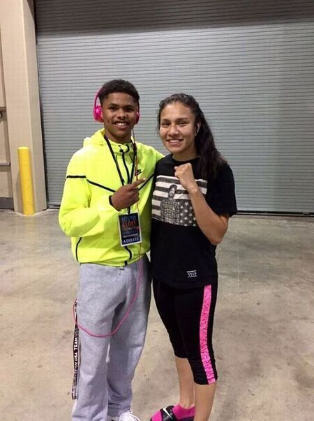 Shakur Stevenson with his girlfriend / GF Jajaira Gonzalez, Joet Gonzalez's sister.