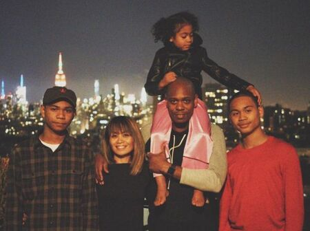 Dave Chappelle and wife Elaine Chappelle with their three children.
