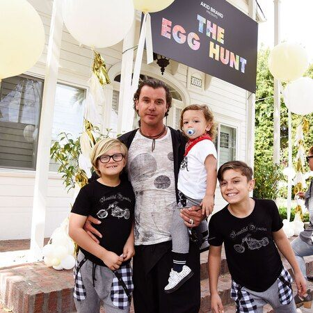 Gavin Rossdale with his three children; Kingston, Zuma, and Apollo.