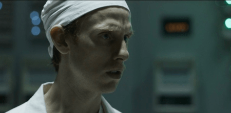 Robert Emms as Leonid Toptunov in Chernobyl.