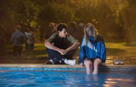 Archie Madekwe (Luke) with Elle Fanning (Violet Valenski) in Teen Spirit.