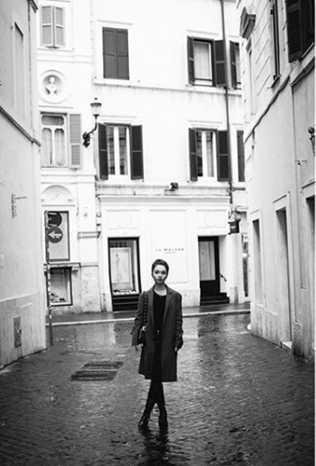 A black and white picture of Jenna Berman in Paris.