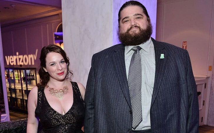 Jorge Garcia with his wife, Rebecca Birdsall attending a movie premiere. They dated for 5 years before getting engaged in 2018 and married in 2019.