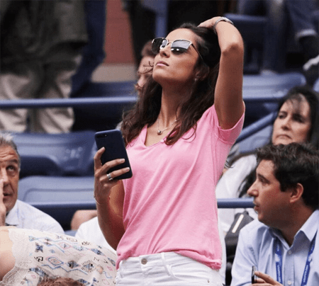 Xisca Perello watching a game of her boyfriend Rafael Nadal.