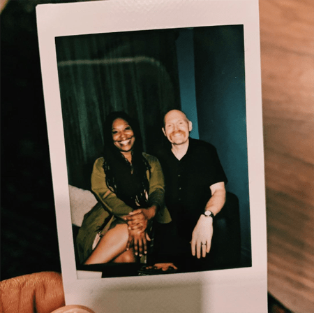 Polaroid picture of Bill Burr and Nia Renee Hill.