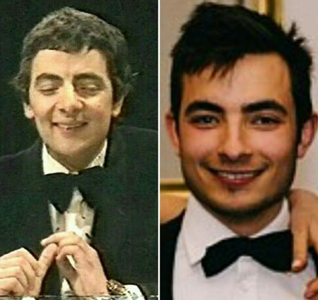 side by side image of Rowan Atkinson and his son Benjamin Atkinson