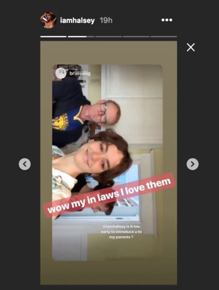 Halsey took to her Instagram story to call Bridgette's family, her in-laws.