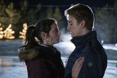 Kaya Scodelario and Evan Roderick as Kat Baker and Justin Davis in the Netflix ice skating series Spinning Out.