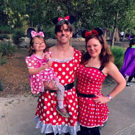 Cooper Barnes celebrating Halloween with his wife Liz Stewart and their daughter Ripley Barnes.