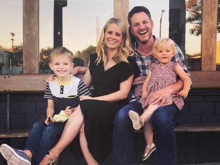 Allison Munn and her spouse Scott Holroyd with their kids, son Nathan Powell Holroyd, and daughter Nora Holroyd.