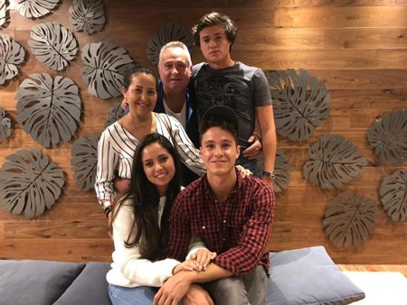 Michael Ronda with his father, mother, elder sister and younger brother.