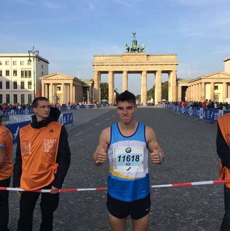 Kit Clarke runs marathon and he also placed third in Berlin Marathon.