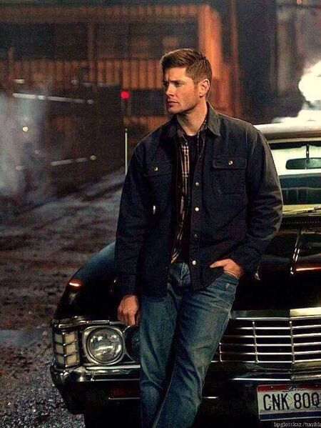 "Jensen Ackles with his beloved impala ""Baby""."