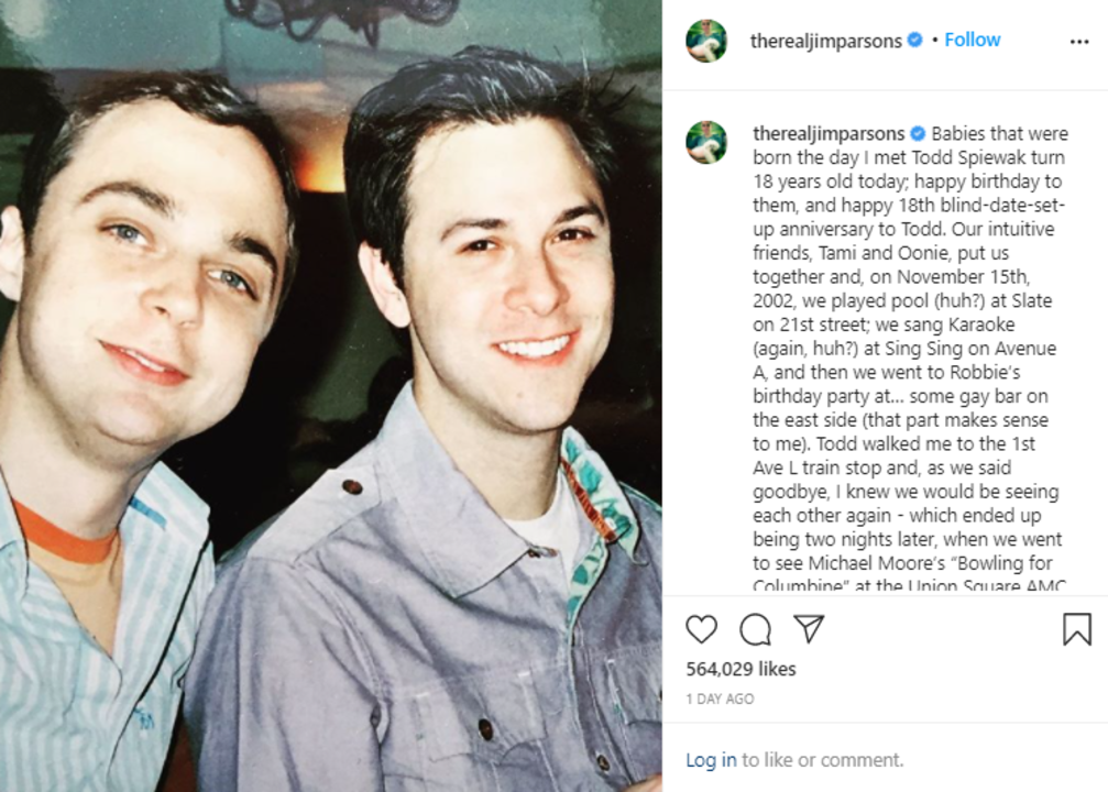 Jim Parsons pays tribute to partner Todd Spiewak on Instagram.