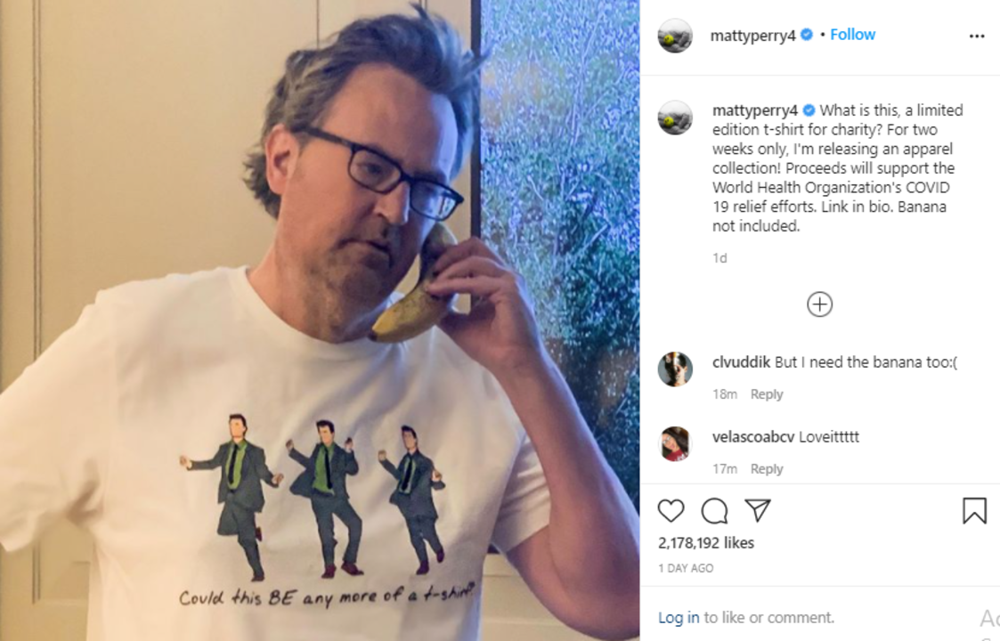 Matthew Perry is launching a Friends-inspired clothing line for the COVID-19 charity fund.